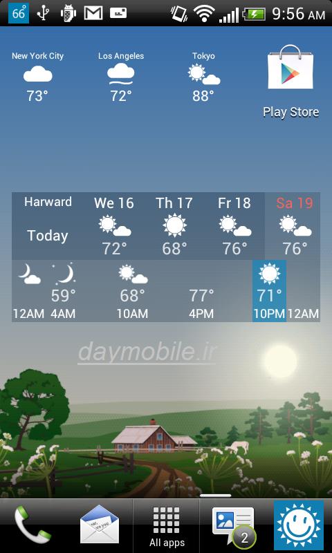 دانلود نرم افزار پیش بینی آب و هوا در اندروید و کامپیوتر YoWindow Weather