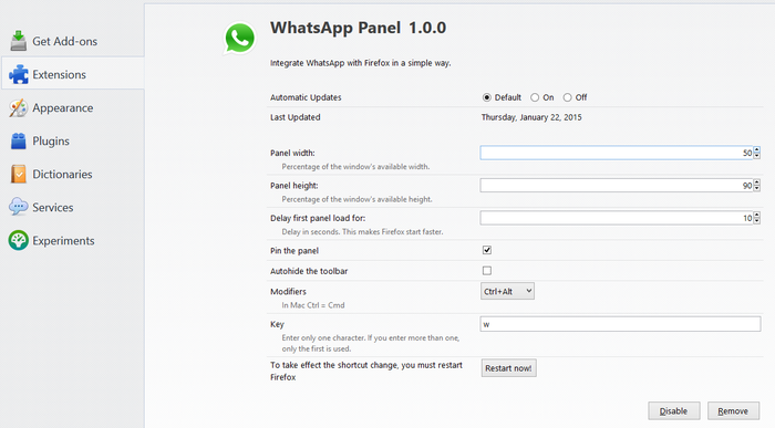 اضافه کردن پلاگین مسنجر واتساپ به مرورگر فایر فاکس