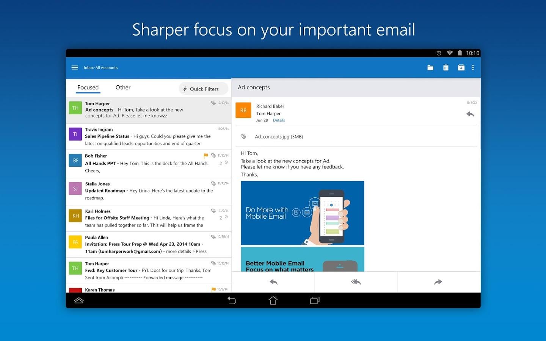 دانلود نرم افزار مدیریت ایمیل مایکروسافت برای اندروید Microsoft Outlook