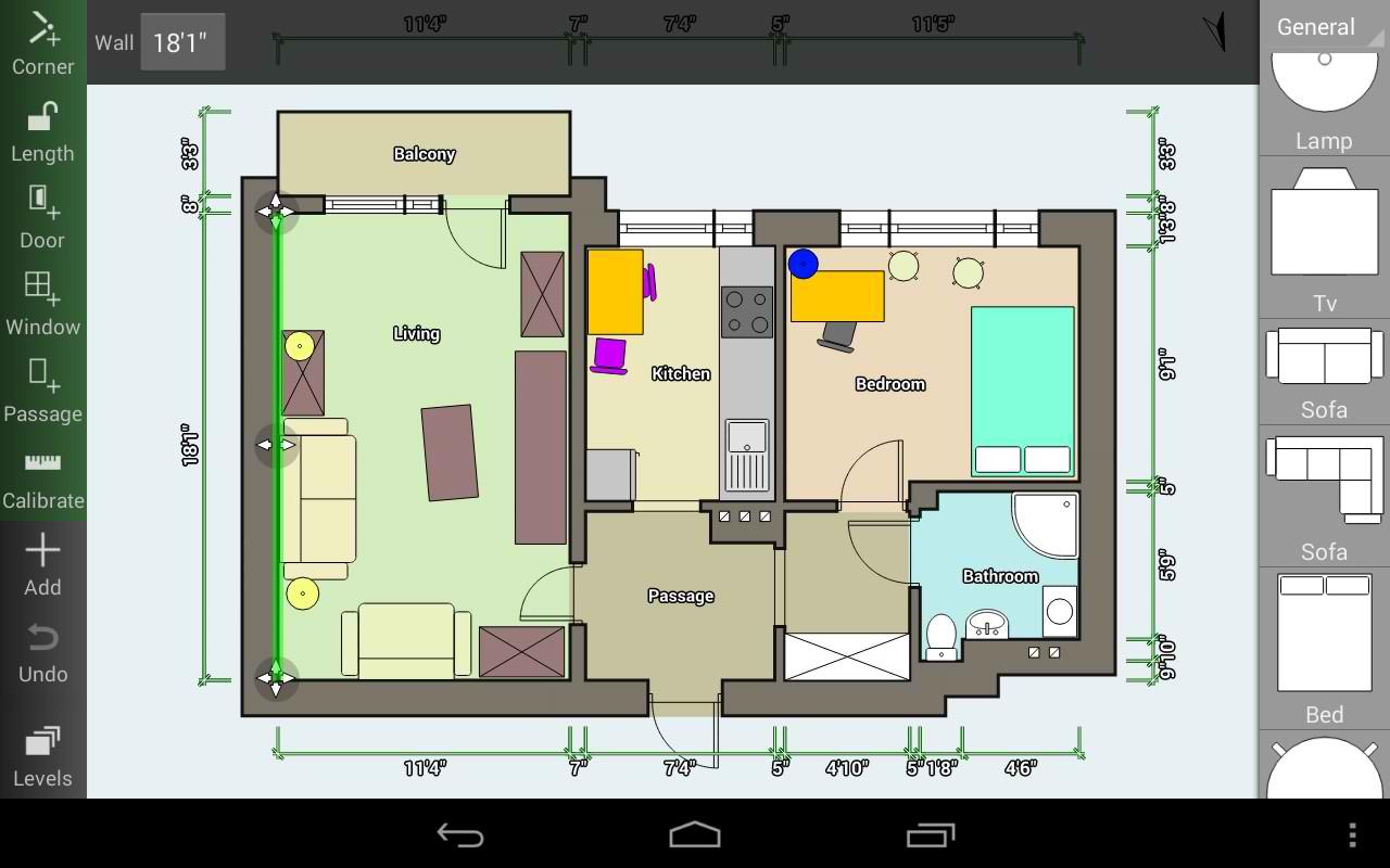 نرم افزار طراحی نقشه خانه برای اندروید Floor Plan Creator