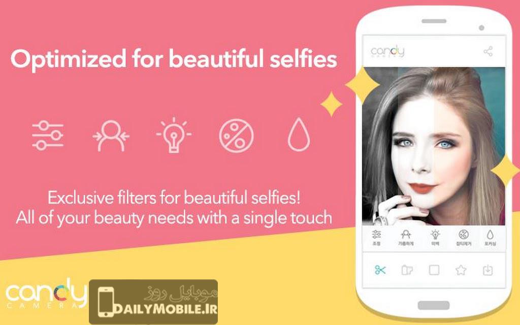 برنامه زیبا سازی عکس های سلفی Candy Camera – Selfie Selfies