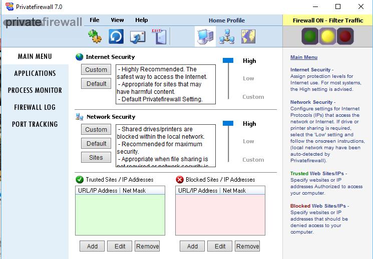 نرم افزار دیوار آتش برای کامپیوتر Privatefirewall