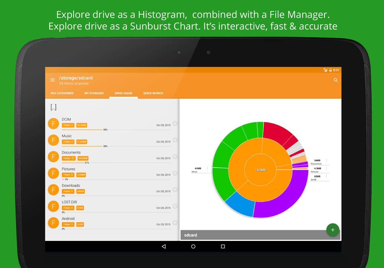 دانلود برنامه آنالیز اطلاعات حافظه اندروید Disk & Storage Analyzer [PRO]