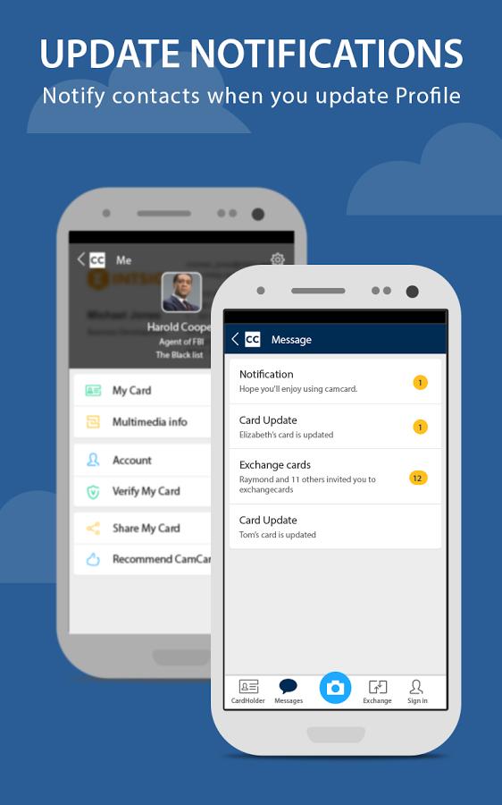 برنامه اندروید مديريت كارت هاي تجاری CamCard - Business Card Reader اندرويد