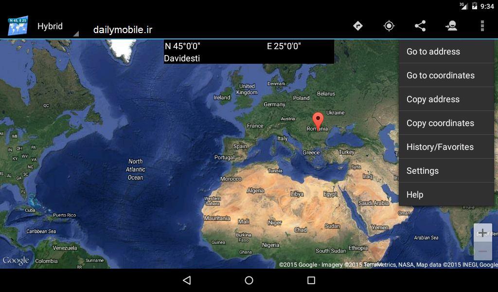 دانلود برنامه پیدا کردن مختصات محل فعلی در اندروید Map Coordinates
