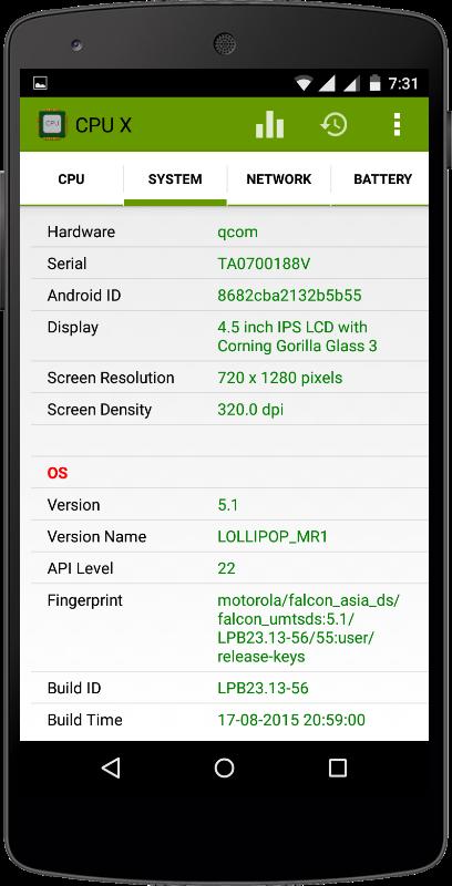 مشاهده كامل اطلاعات دستگاه اندرويد CPU X : System & Hardware info