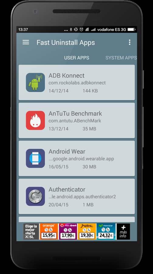 حذف برنامه های سیستمی اندروید با Fast Uninstall Apps