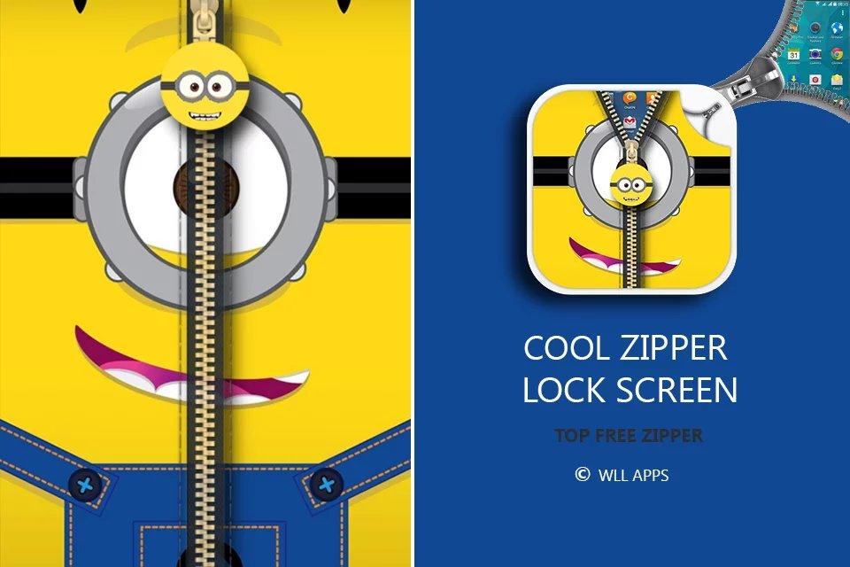 برنامه لاک اسکرین زیپ مانند اندروید Zipper Lock Screen Yellow