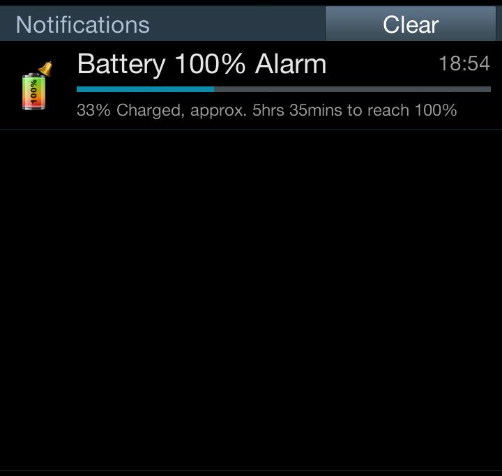 برنامه اندروید آگاهی از پر شدن باتری Battery 100% Alarm