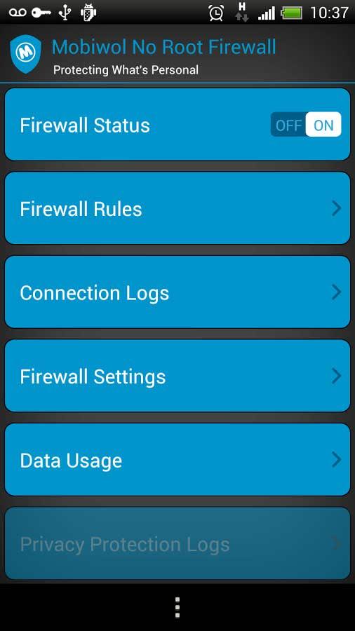 برنامه اندروید محدود کردن دسترسی اپلیکیشن ها به اینترنت Mobiwol: NoRoot Firewall