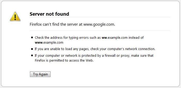 رفع خطای Server not found در مرورگر فایرفاکس