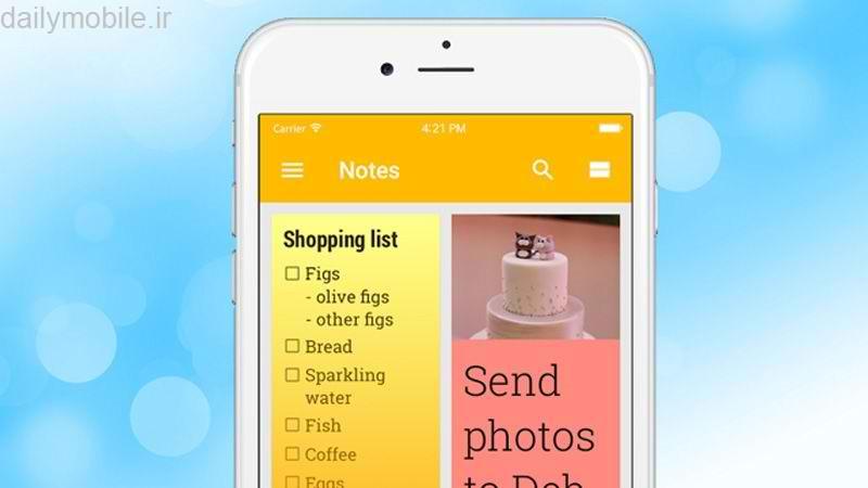 دانلود برنامه یادداشت برداری برای آیفون و آیپد Google Keep iOS - Notes and lists