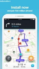 دانلود مديريت و كنترل ترافيک در اندرويد Waze - GPS, Maps & Traffic