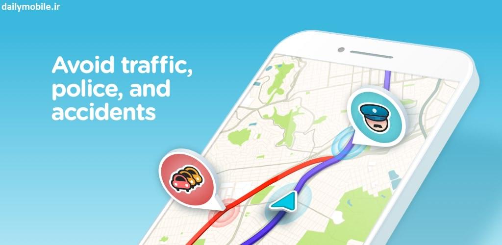 دانلود مدیریت و کنترل ترافیک در اندروید Waze - GPS, Maps & Traffic