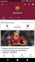 دانلود برنامه نمایش زنده نتایج بازی های فوتبال برای اندروید Onefootball Live Soccer Scores