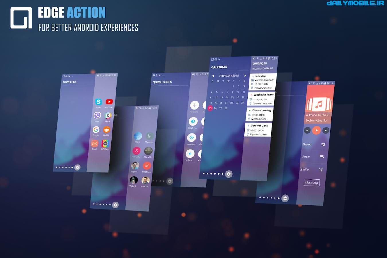 دانلود برنامه نوار کناری سامسونگ اس8 اندروید Edge Action - S8 Edge Launcher, Music, Contact