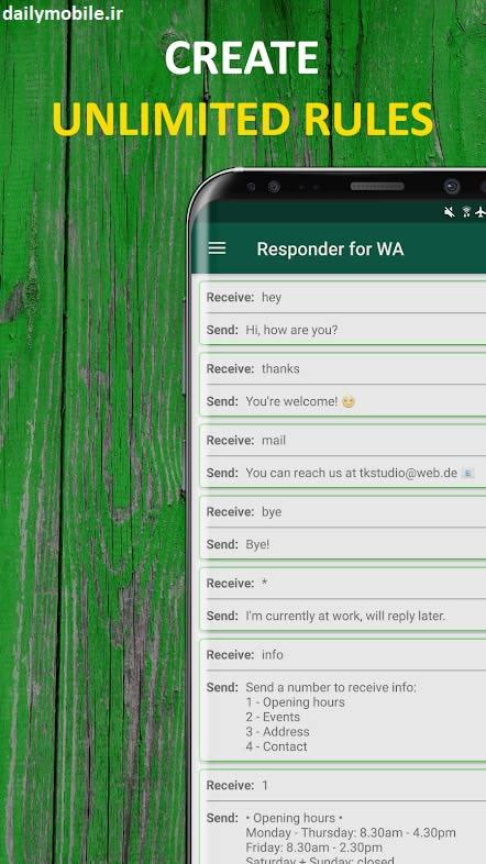 پاسخ سریع ربات ها در فایل ل دانلود برنامه اندروید ربات پاسخ خودکار واتساپ ...