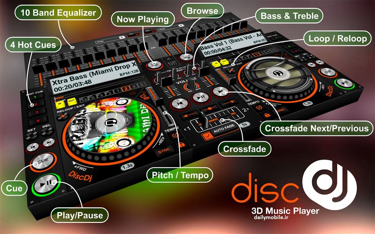 دانلود برنامه پخش موسیقی DiscDj 3D Music Player - Dj Mixer برای اندروید