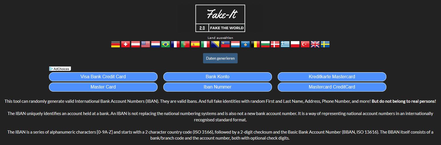 معرفی وب سایت fake-it.to - اطلاعات بانکی و آدرس جعلی کشورهای مختلف