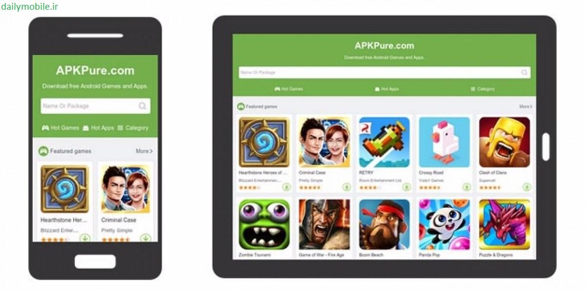 دانلود بهترین مارکت خارجی اندروید APKPure Mobile AppStore Mod Ad Free