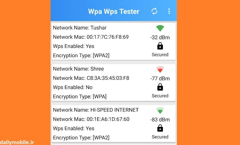 برنامه مشاهده رمز وای فای ذخیره شده در اندروید WIFI WPS WPA Dumper